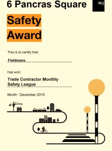 Trade Contractor Monthly Safety Awards Fieldmans Access Floors
