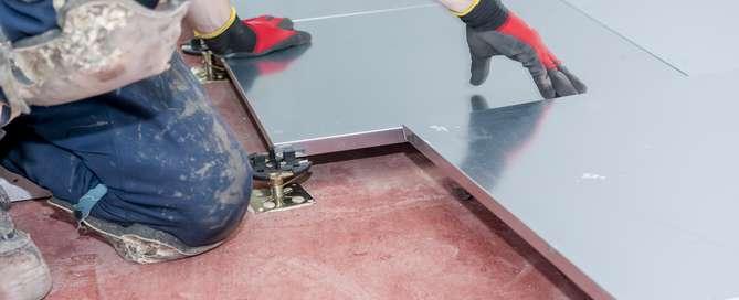 raisedaccess flooring being installed by fieldmans access floors