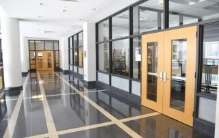 Raised access flooring in school building